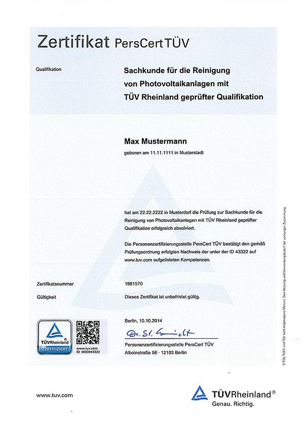 TÜV Rheinland Solarreiniger Zertifikat