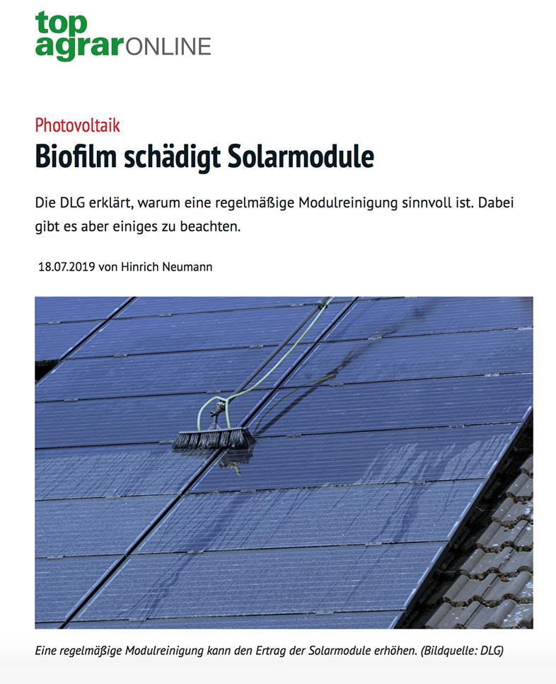 Biofilm Schaden an Solarmodulen